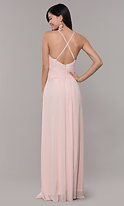 Image of Simply v-neck long prom dress in blush pink. Style: MCR-SD-3047b Back Image