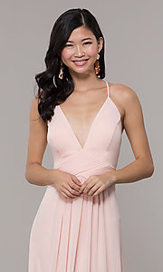 Image of Simply v-neck long prom dress in blush pink. Style: MCR-SD-3047b Detail Image 1