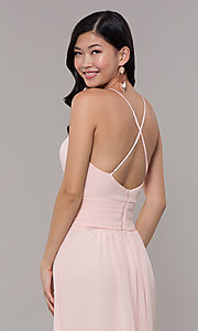 Image of Simply v-neck long prom dress in blush pink. Style: MCR-SD-3047b Detail Image 2