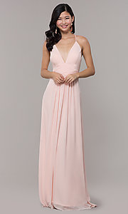 Image of Simply v-neck long prom dress in blush pink. Style: MCR-SD-3047b Detail Image 3