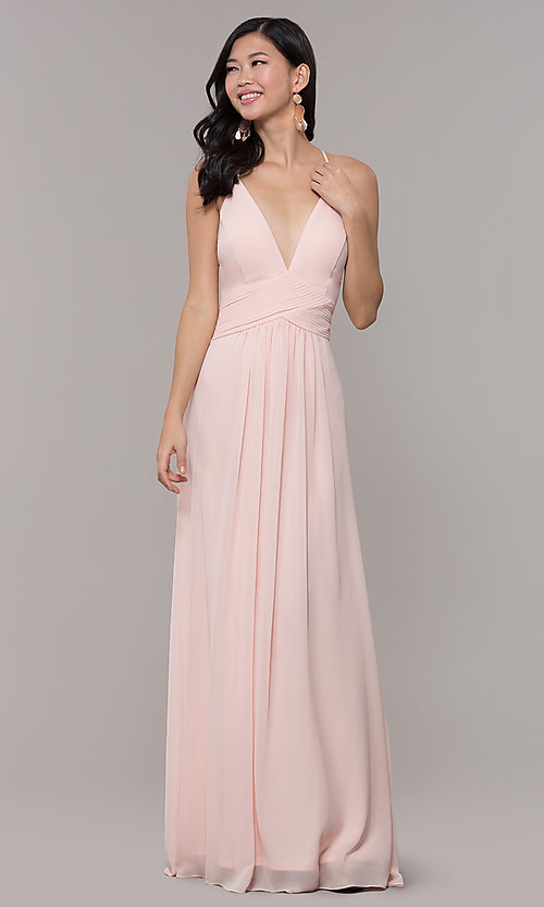 Image of Simply v-neck long prom dress in blush pink. Style: MCR-SD-3047b Front Image