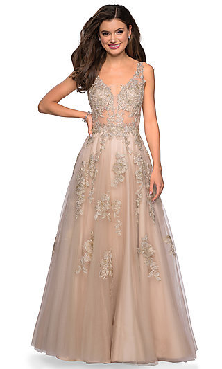 Lace Appliqued V-Neck Long Prom Dress by La Femme