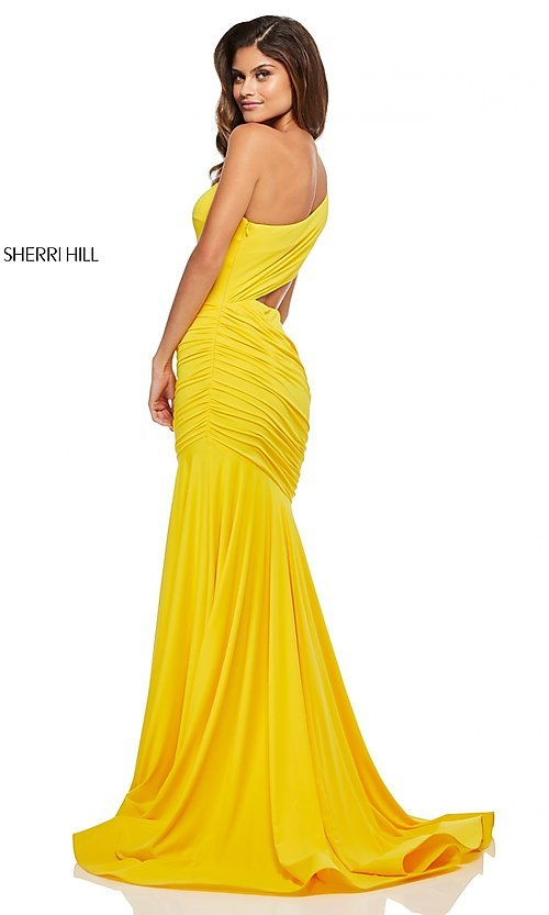 7dfa284bef3 Long One-Shoulder Ruched Prom Dress with a Cut-Out