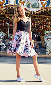 Image of short sweetheart a-line homecoming dress. Style: CT-3622BD3AT3 Detail Image 3