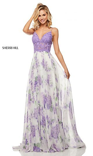 Print A-Line Chiffon Prom Dress with a Sheer Bodice
