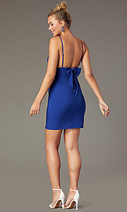 Image of indigo blue short tight party dress with back bow. Style: CT-7253BX9T3 Back Image