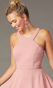 Image of open-back high-neck short party dress in soft pink. Style: CT-7711BS5BT3 Detail Image 1