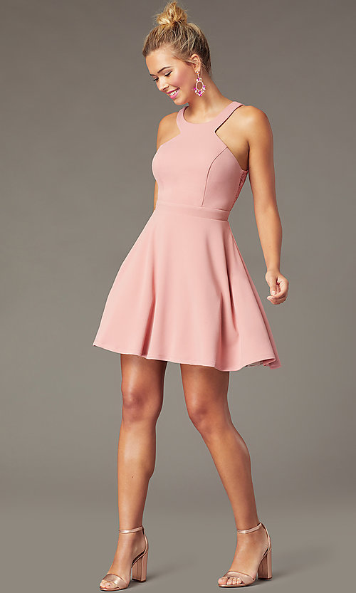 Image of open-back high-neck short party dress in soft pink. Style: CT-7711BS5BT3 Front Image