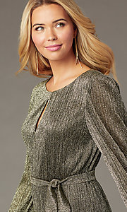 Image of holiday glitter-jersey long-sleeve short party dress. Style: CT-7368CF3AT3 Detail Image 1