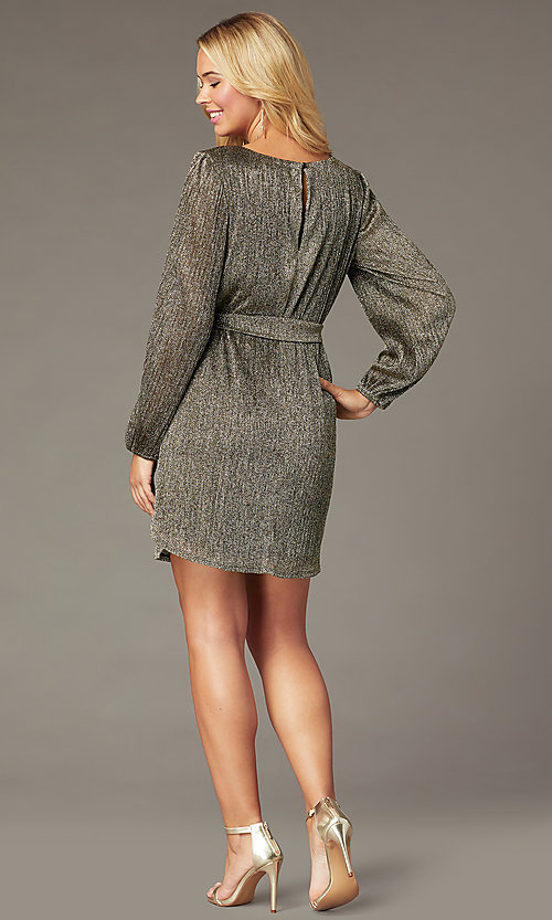 Image of holiday glitter-jersey long-sleeve short party dress. Style: CT-7368CF3AT3 Back Image