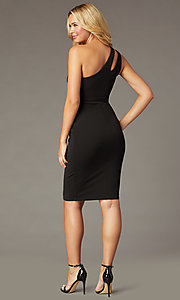 Image of knee-length one-shoulder holiday party black dress. Style: CT-1520BU6BT3 Back Image