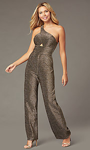 Image of glitter-knit holiday party one-shoulder jumpsuit. Style: CT-7877CK8AT3 Front Image