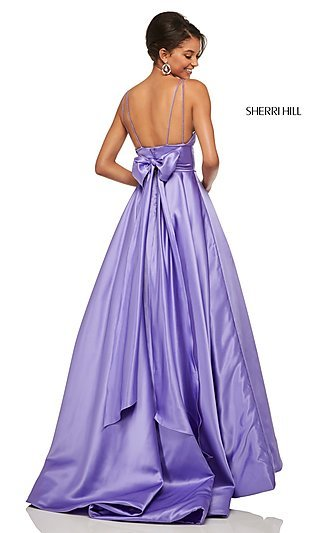A-Line Satin Sherri Hill Prom Dress with a Bow