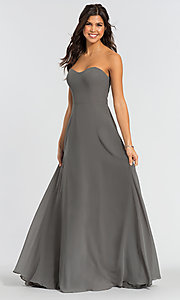Image of Kleinfeld long bridesmaid dress with straps. Style: KL-200009-v Detail Image 1