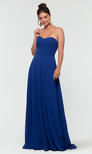 Kleinfeld Long Bridesmaid Dress with Straps