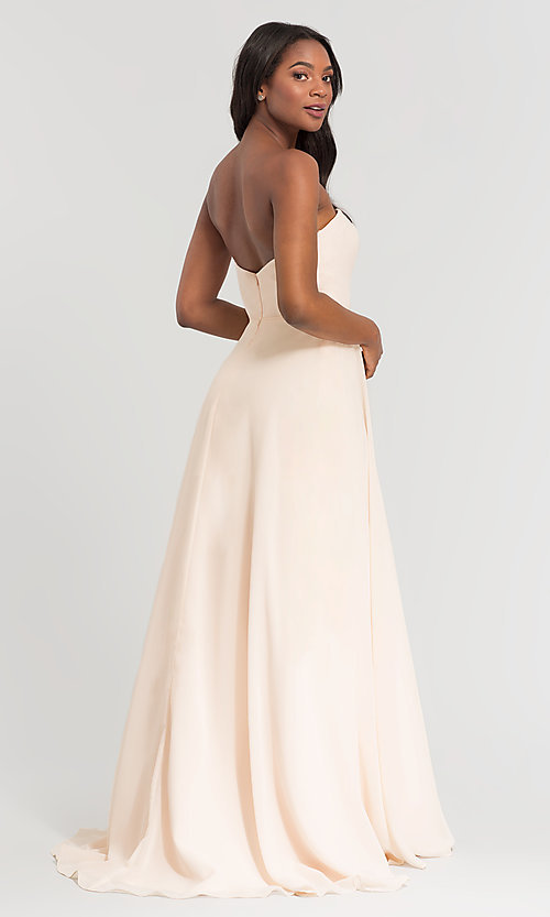 Image of Kleinfeld long bridesmaid dress with straps. Style: KL-200009-v Back Image