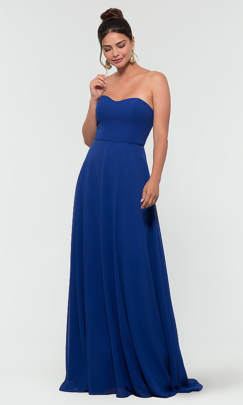 Image of Kleinfeld long bridesmaid dress with straps. Style: KL-200009-v Front Image