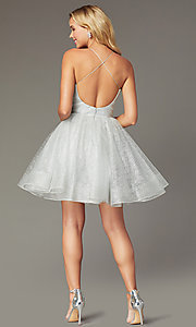 Image of short tulle a-line pleated-bodice hoco dress. Style: TI-GL-1921H0334 Back Image