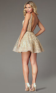Image of embroidered-tulle short gold homecoming dress. Style: TI-GL-1925H0698 Back Image