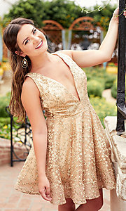 Image of embroidered-tulle short gold homecoming dress. Style: TI-GL-1925H0698 Detail Image 2