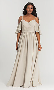 Image of long Kleinfeld bridesmaid dress with cold shoulders. Style: KL-200011-v Detail Image 2