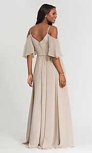 Image of long Kleinfeld bridesmaid dress with cold shoulders. Style: KL-200011-v Back Image