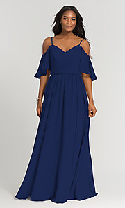Image of long Kleinfeld bridesmaid dress with cold shoulders. Style: KL-200011-v Front Image