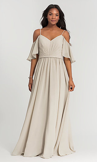 Long Kleinfeld Bridesmaid Dress with Cold Shoulders