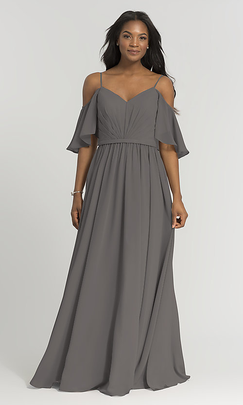 Image of long Kleinfeld bridesmaid dress with cold shoulders. Style: KL-200011-v Detail Image 1