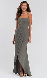 Image of high-low bridesmaid dress by Kleinfeld. Style: KL-200050-v Detail Image 1