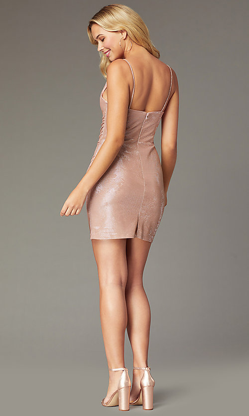 Image of cowl-neck rose gold short homecoming party dress. Style: FA-S10351 Back Image