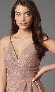 Image of short v-neck designer homecoming dress by Faviana. Style: FA-10352 Detail Image 2