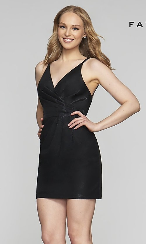Image of short v-neck designer homecoming dress by Faviana. Style: FA-10352 Detail Image 4