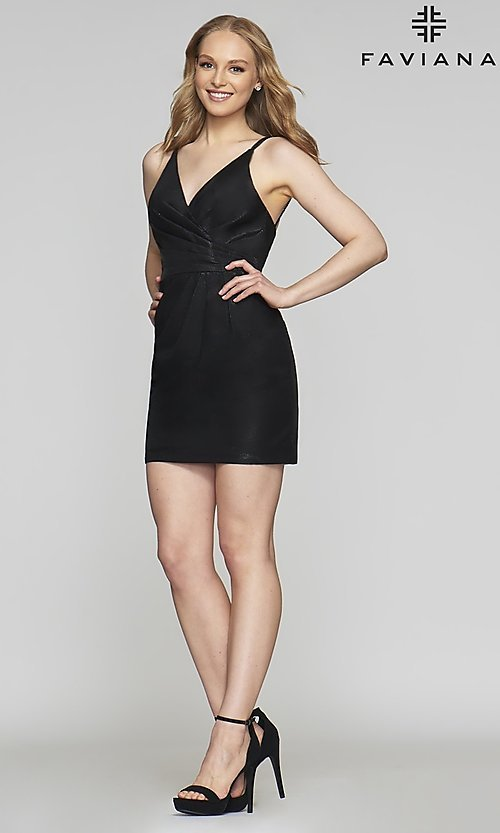 Image of short v-neck designer homecoming dress by Faviana. Style: FA-10352 Detail Image 5