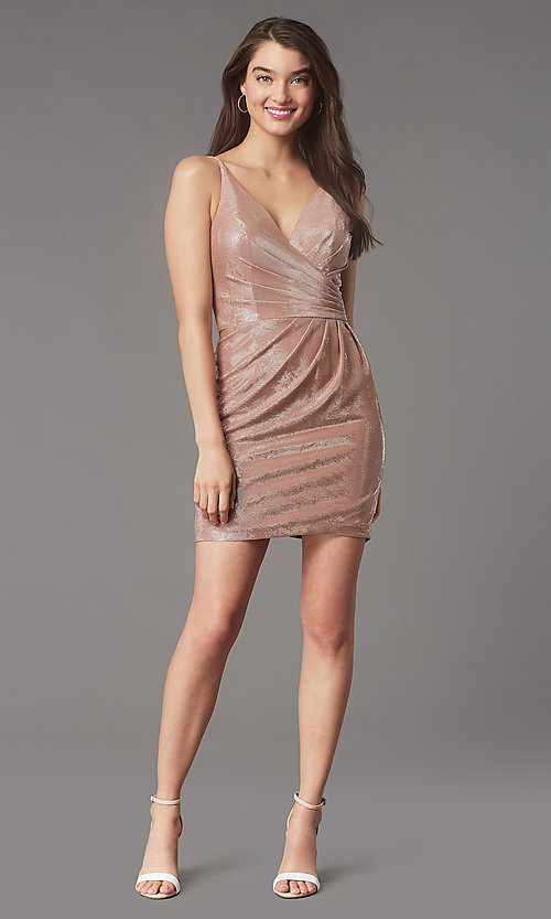 Image of short v-neck designer homecoming dress by Faviana. Style: FA-10352 Detail Image 1