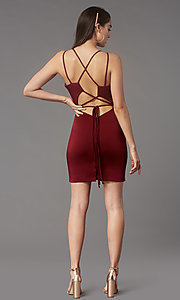 Image of fitted homecoming dress with lace-up back.  Style: FA-S10358 Detail Image 4