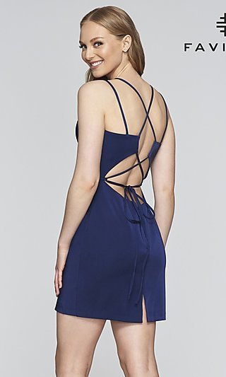Fitted Homecoming Dress with Lace-Up Back