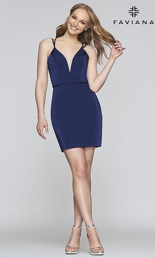 Image of fitted homecoming dress with lace-up back.  Style: FA-S10358 Detail Image 1