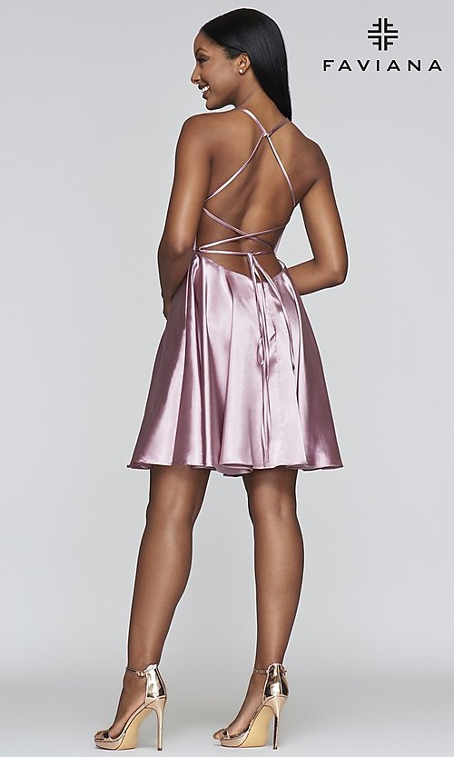 Image of short a-line open-back homecoming dress by Faviana.  Style: FA-S10361 Detail Image 8