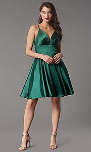 Image of open-v-back short homecoming dress by Faviana. Style: FA-S10363 Detail Image 2