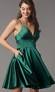 Image of open-v-back short homecoming dress by Faviana. Style: FA-S10363 Detail Image 3