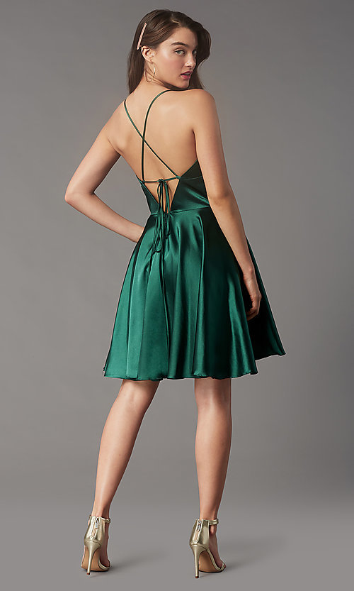 Image of open-v-back short homecoming dress by Faviana. Style: FA-S10363 Back Image