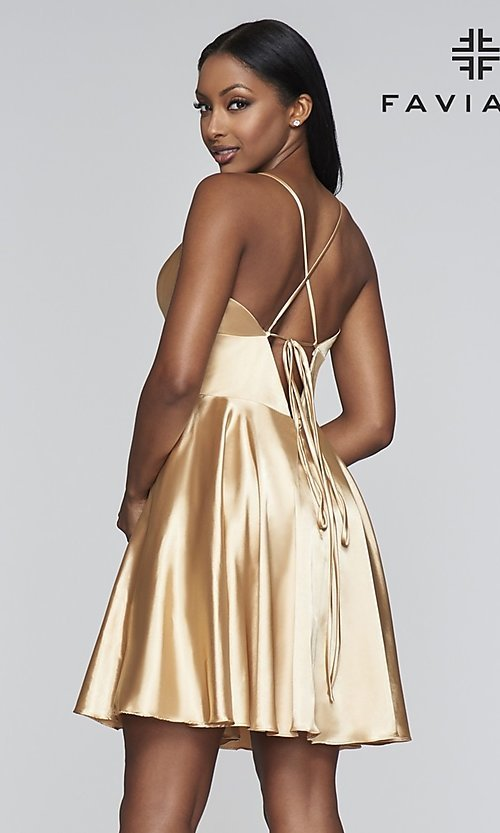 Image of open-v-back short homecoming dress by Faviana. Style: FA-S10363 Detail Image 5