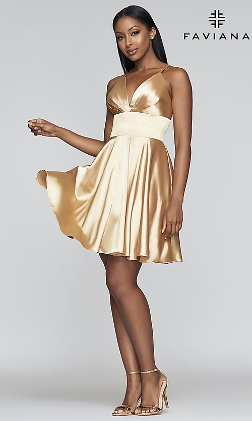 Image of open-v-back short homecoming dress by Faviana. Style: FA-S10363 Detail Image 7