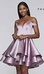 Image of satin babydoll homecoming dress with tiered skirt. Style: FA-S10364 Front Image