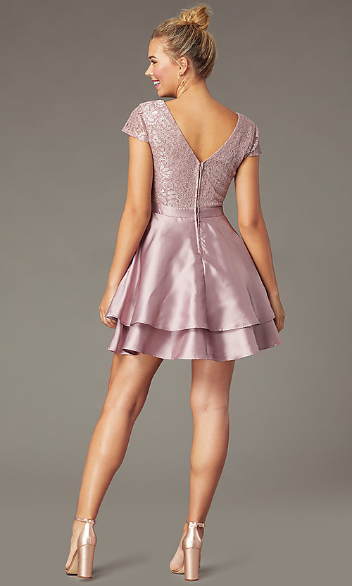 Image of mauve pink lace-bodice short tiered hoco dress. Style: CT-3166AZ6AT3 Back Image