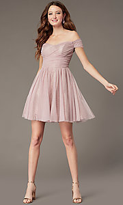 Image of sweetheart short off-the-shoulder homecoming dress. Style: CT-8145CH4AT3 Detail Image 1