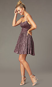 Image of short open-back cute pink homecoming dress. Style: CT-8217BW4AT3 Back Image
