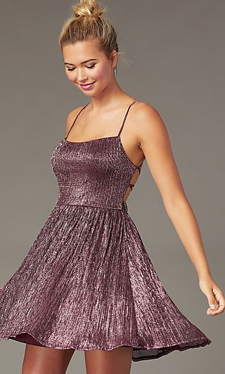 Short Open-Back Cute Pink Homecoming Dress