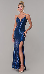 Image of navy blue long v-neck full-sequin prom dress. Style: DQ-2408n Front Image